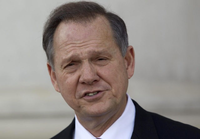 Former Alabama Supreme Court Chief Justice Roy Moore announces his candidacy for the office during a news conference in Montgomery, Ala., Tuesday, Nov. 22, 2011. Eight years after Moore was removed from the post because of the monument dispute, he announced that he would run for the position again at …