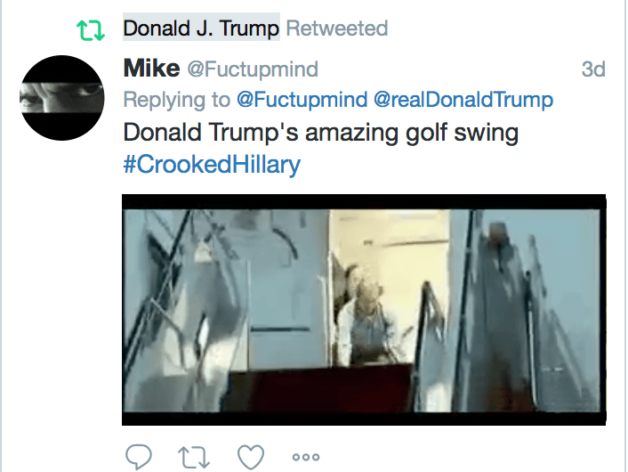 Trump Retweets Gif of Him Hitting Golf Ball Into Clinton's Back