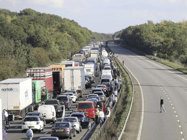 Motorway, traffic, cars, UK
