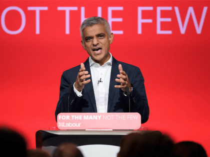 BRIGHTON, ENGLAND - SEPTEMBER 25: Mayor of London Sadiq Khan addresses delegates in the main hall on the second day of the Labour Party conference on September 25, 2017 in Brighton, England. The annual Labour Party conference runs from 24-27 September. (Photo by Leon Neal/Getty Images)