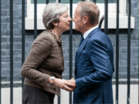 LONDON, ENGLAND - SEPTEMBER 26: British Prime Minister Theresa May greets President of the European Council, Donald Tusk in Downing Street on September 26, 2017 in London, England. Theresa May welcomed the President of the European Council, Donald Tusk, to Downing Street today to hold talks in parallel with the …