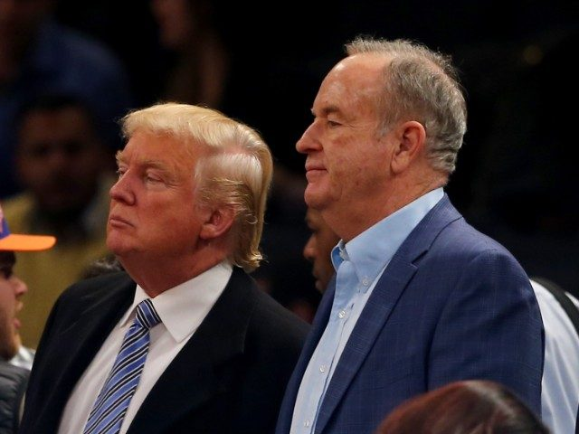 Donald Trump and Bill O'Reilly attend the game between the New York Knicks and the Cleveland Cavaliers at Madison Square Garden on November 30, 2014 in New York City.NOTE TO USER: User expressly acknowledges and agrees that, by downloading and/or using this photograph, user is consenting to the terms and conditions of the Getty Images License Agreement. (Photo by Elsa/Getty Images)