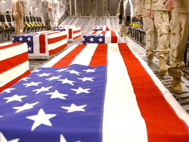 UNDATED: Caskets bearing the remains of U.S. servicemen are shown in the cargo hold of a transport plane in this undated handout photo released April 28, 2005 by the Pentagon. The release this week of more than 700 images showing the return of American casualties to Dover Air Force Base …