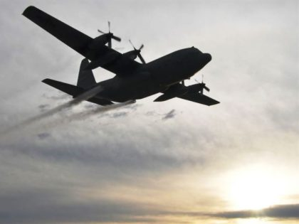 USAF C-130 with mosquito sprayer - Photo MSGT Bob Barko Jr