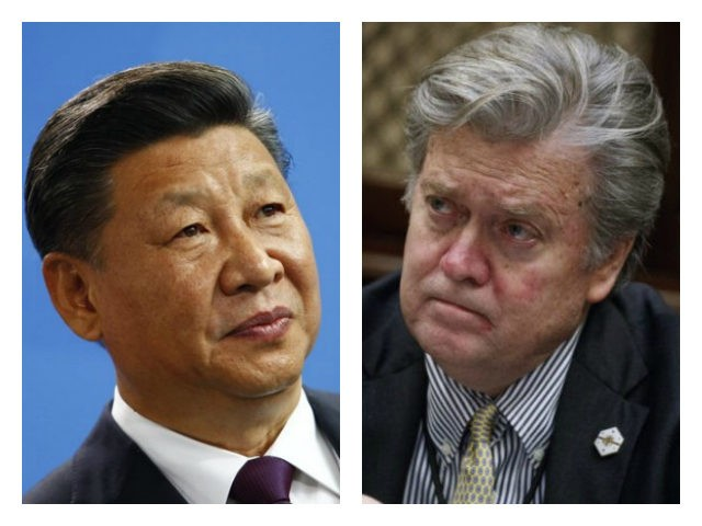 Xi Jinping and Steve Bannon collage