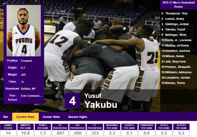 Yusuf Yakubu - Basketball at PVAMU