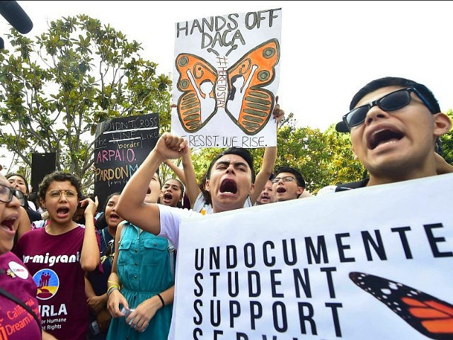 Young immigrants and supporters gather for a rally in support of Deferred Action for Childhood Arrivals (DACA) in Los Angeles, California on September 1, 2017. A decision is expected in coming days on whether US President Trump will end the program by his predecessor, former President Obama, on DACA which has protected some 800,000 undocumented immigrants, also known as Dreamers, since 2012. / AFP PHOTO / FREDERIC J. BROWN (Photo credit should read FREDERIC J. BROWN/AFP/Getty Images)