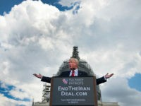 WASHINGTON, DC - SEPTEMBER 9: Donald Trump speaks at a the Stop The Iran Nuclear Deal protest in front of the U.S. Capitol in Washington, DC on September 9, 2015. Notables at the protest were Ted Cruz, Donald Trump, Sarah Palin, Duck Dynasty's Phil Robertson. The event was organized by the Tea Party. (Photo by Linda Davidson/The Washington Post via Getty Images)