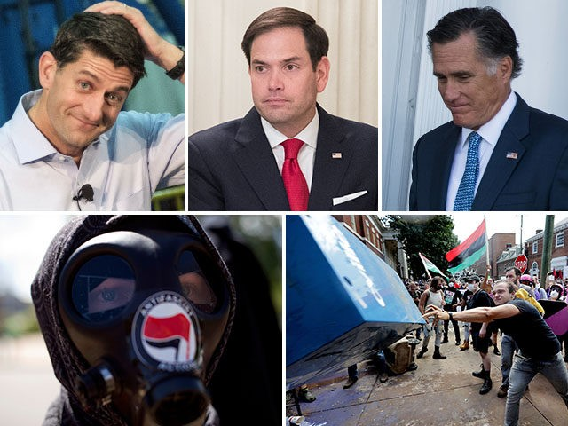 "GOP members who gave moral cover to violent ""antifa"" rioters and terrorists to virtue signal against President Trump. L to R: Paul Ryan, Marco Rubio, Mitt Romney."
