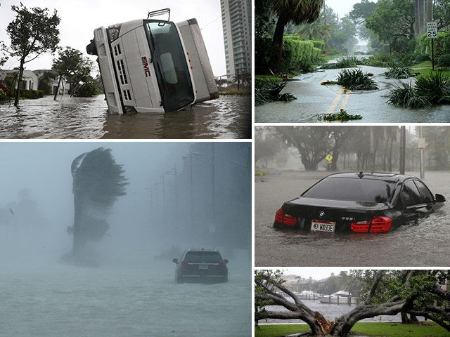 Scenes of flooding and damage from Hurricane Irma's landfall in Florida on September 10, 2017.