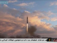 An Iranian TV grab taken on September 23, 2017 shows a Khoramshahr missile being launched from an undisclosed location, a day after the said missile was first displayed at a military parade in Tehran (AFP Photo/Handout)