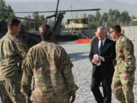 US Defense Secretary Jim Mattis arrives at Forward Operating Base Gamberi east of Kabul, Afghanistan, on an unannounced visit to the war-torn country on September 27, 2017. US Defense Secretary Jim Mattis and NATO chief Jens Stoltenberg renewed their commitment to Afghanistan on September 27, 2017, as insurgents fired rockets that killed one person and wounded 11 in Kabul. Mattis is the first member of US President Donald Trump's cabinet to visit the country since Trump last month pledged to stay the course in America's longest war. / AFP PHOTO / Thomas WATKINS (Photo credit should read THOMAS WATKINS/AFP/Getty Images)
