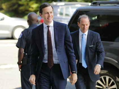 WASHINGTON, DC - JULY 24: White House Senior Advisor and President Donald Trump's son-in-law Jared Kushner (L) and attorney Abbe Lowell arrives at the Hart Senate Office Building to testify behind closed doors by the Senate Intelligence Committee about Russian meddling in the 2016 presidential election July 24, 2017 in …