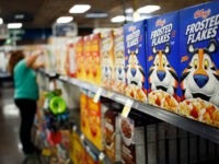 Kellogg Co. Frosted Flakes cereal is displayed for sale inside a Kroger Co. grocery store in Louisville, Kentucky, U.S., on Wednesday, June 14, 2017. Kroger Co. is scheduled to release earnings on June 15. Photographer: Luke Sharrett/Bloomberg via Getty Images