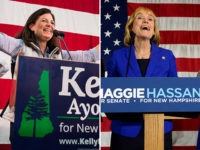 New Hampshire Gov. Maggie Hassan (D-NH) takes the stage to thank supporters with her husband Tom, daughter Meg, and family friend Liz Murphy (L) November 9, 2016 in Manchester, New Hampshire. Hassan is in a tight race with incumbent U.S. Sen. Kelly Ayotte (R-NH). (Photo by Darren McCollester/Getty Images)