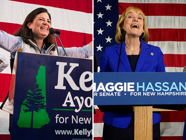 New Hampshire Gov. Maggie Hassan takes the stage to thank supporters with her husband Tom daughter Meg and family friend Liz Murphy