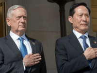 US Secretary of Defense James Mattis (L) and South Korea's Defense Minister Song Young-Moo are meeting in Washington after North Korea's latest ballistic missile test launch