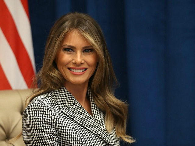 TORONTO, ON - SEPTEMBER 23: U.S. first lady Melania Trump smiles as she meets with Prince Harry for the first time while leading the USA team delegation ahead of the Invictus Games 2017 on September 23, 2017 in Toronto, Canada (Photo by Chris Jackson/Getty Images for the Invictus Games Foundation …