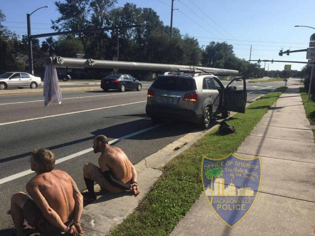 Police in Jacksonville, Florida, arrested Victor Walter Apeler, 46, and Blake Lee Waller, 42, for allegedly attempting to steal a utility pole used for a traffic light after Hurricane Irma.