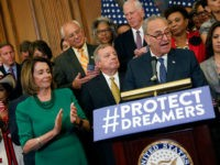 WASHINGTON, DC - SEPTEMBER 6: Senate Minority Leader Chuck Schumer (D-NY) speaks at a news conference about President Donald Trump's decision to end the Deferred Action for Childhood Arrivals (DACA) program at the U.S. Capitol September 6, 2017 in Washington, DC. Democrats called for action on young undocumented immigrants that …