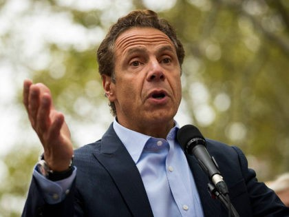 NEW YORK, NY - SEPTEMBER 18: New York Governor Andrew Cuomo speaks during a rally of hundreds of union members in support of IBEW Local 3 (International Brotherhood of Electrical Workers) at Cadman Plaza Park, September 18, 2017 in the Brooklyn borough of New York City. More than 1800 members …