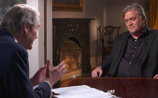 Breitbart News Executive Chairman Steve Bannon seen in an interview with Charlie Rose for CBS News' 60 Minutes.