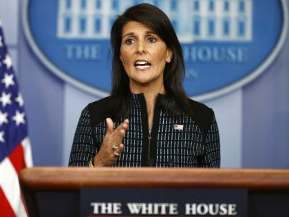 U.S. Ambassador to the United Nations Nikki Haley speaks during a news briefing at the White House, in Washington, Friday, Sept. 15, 2017. (AP Photo/Carolyn Kaster)
