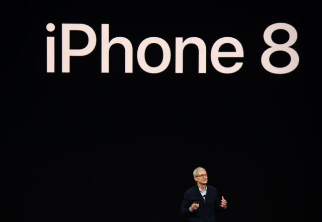 Apple CEO Tim Cook speaks about the new iPhone 8 during a media event at Apple's new headquarters in Cupertino, California