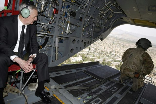 US Defence Secretary James Mattis, seen here during an April 2017 visit to Kabul, says most of the 3,000 more US troops being deployed to Afghanistan are on their way