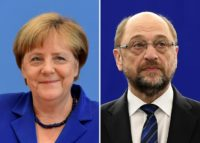 The latest poll shows German Chancellor Angela Merkel's (L) CDU/CSU party has a lead of 36 percent over main rival Social Democrats led by Martin Schulz (R) with 22 percent.