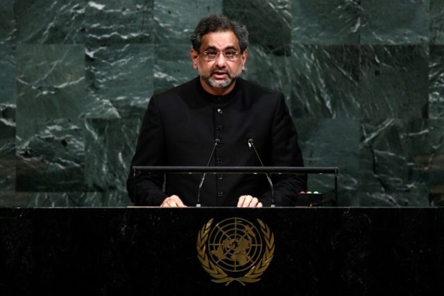 Pakistan's Prime Minister Shahid Khaqan Abbasi called in his address to the UN General Assembly for a priority on eliminating extremists in Afghanistan but ultimately a political solution with the Taliban