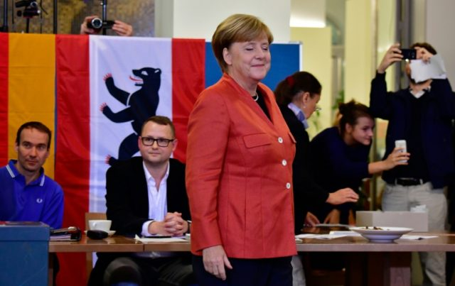 German Chancellor Angela Merkel cast her vote at a polling station near her flat in central Berlin