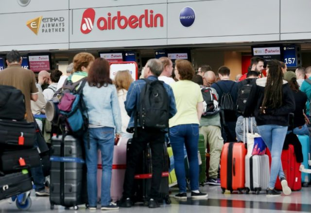 Air Berlin flights are still taking off thanks to an emergency loan from the German government but many long-haul flights have been cancelled