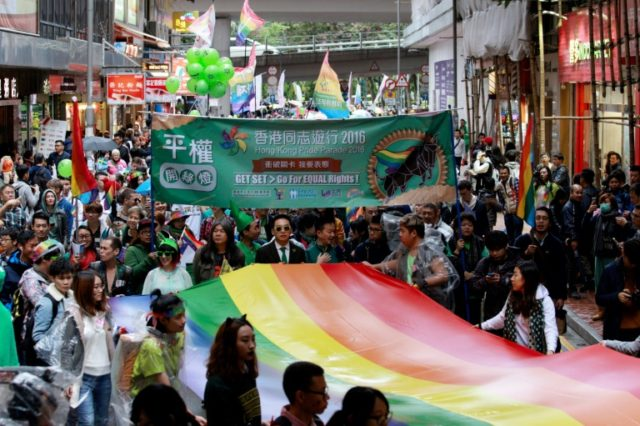 Hong Kong does not recognise gay marriage and only decriminalised homosexuality in 1991