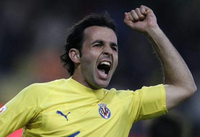 Then Villarreal player Javi Calleja celebrates his goal during their Spanish League match at Madrigal stadium of Villarreal on February 5, 2005