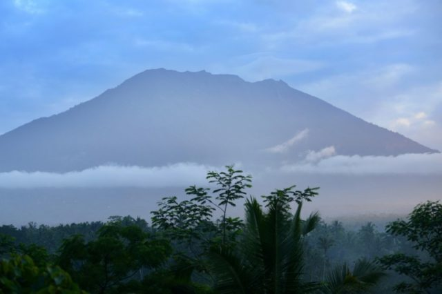 Mount Agung on the Indonesian resort island of Bali on September 24, 2017, where authorities have raised alert levels