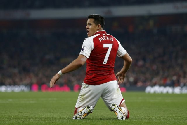 Arsenal's Chilean striker Alexis Sanchez reacts during their English Premier League match against West Bromwich Albion, at the Emirates Stadium in London, on September 25, 2017