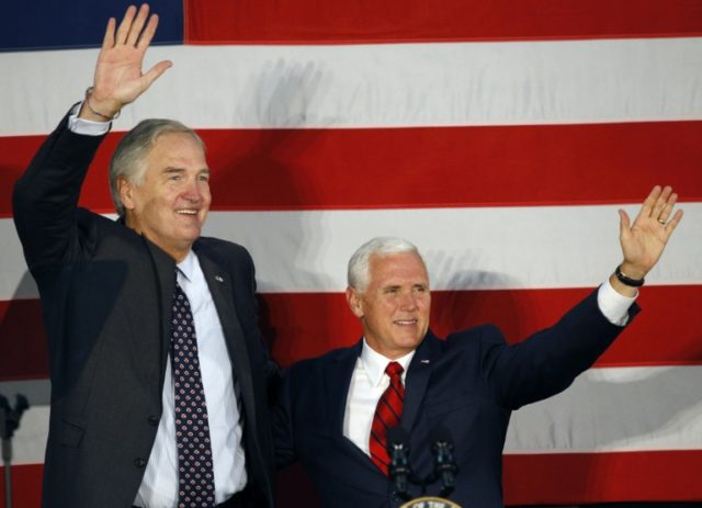 BIRMINGHAM, AL - SEPTEMBER 25: Vice President Mike Pence (R) joins Senator Luther Strange at a campaign rally in Birmingham, Alabama ahead of Tuesday's Republican runoff Senate election. President Donald Trump and Pence have endorsed Strange in his primary runoff contest against former Alabama chief justice Roy Moore. Hal Yeager/Getty …