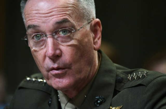 Chairman of the Joint Chiefs of Staff Joseph Dunford tells senators that North Korea has not changed the posture of its troops despite flaring political tensions with Washington
