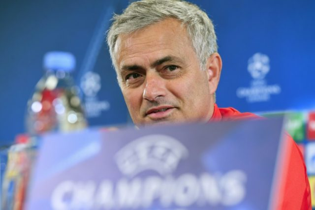 Manchester United coach Jose Mourinho gives a press conference at the Stadion CSKA Moskva in Moscow on September 26, 2017, on the eve of their Champions League group game against PFC CSKA Moskva