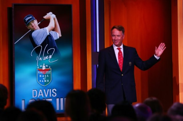 Davis Love III speaks on stage as he is inducted into the World Golf Hall Of Fame, in New York, on September 26, 2017