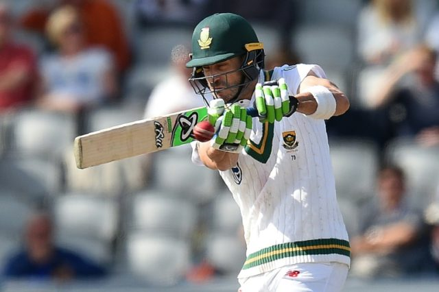 South Africa's captain Faf du Plessis plays a shot during a Test match in Manchester, in August 2017
