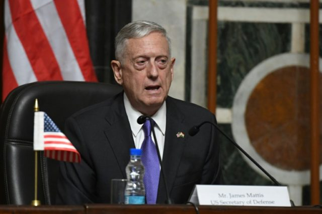 US Defense Secretary Jim Mattis speaks during a press conference with Indian Defence Minister Nirmala Sitharaman after meeting in New Delhi on September 26, 2017