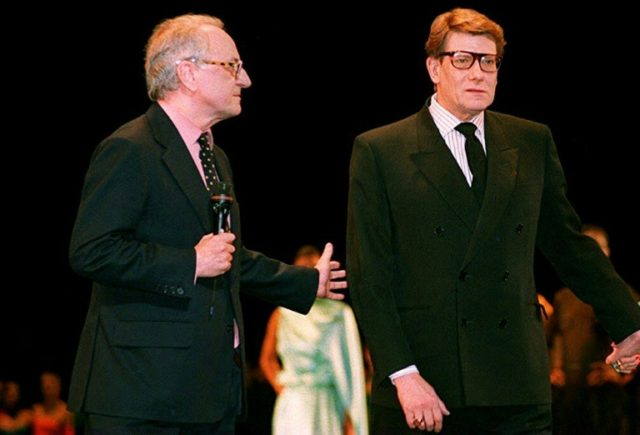 Pierre Berge, left, died shortly before the opening of two museums, in Paris and Marrakesh, celebrating the work of French designer Yves Saint Laurent