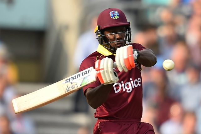 West Indies' Rovman Powell plays a shot during the fourth one-day international against England at The Oval in south London, on September 27, 2017