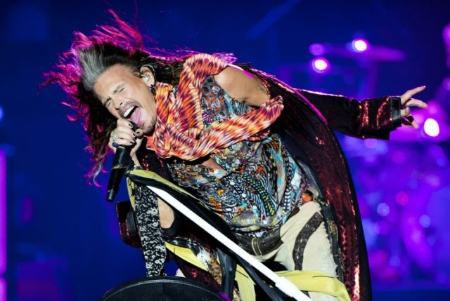 Steven Tyler of Aerosmith performs at the Royal Arena in Copenhagen, on June 5, 2017