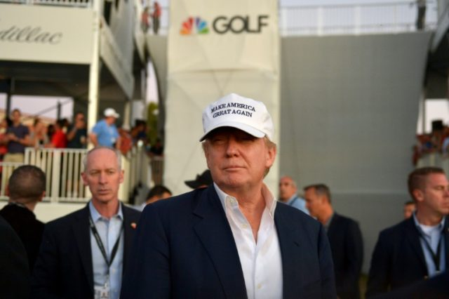 Donald Trump, seen here in March last year during the final round of the World Golf Championships-Cadillac Championship in Florida is considering attending the Presidents Cup in New Jersey on October 1, PGA officials say