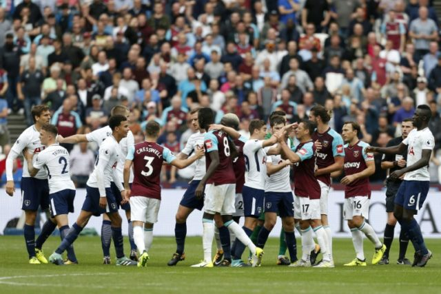 Players skirmish during the English Premier League football match between West Ham United and Tottenham Hotspur at The London Stadium, in east London on September 23, 2017