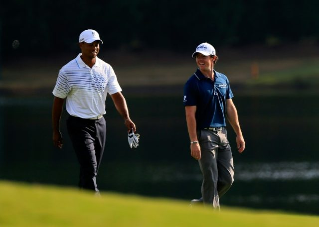"Rory McIlroy of Northern Ireland, pictured with Tiger Woods in 2012, said of Woods, ""If he doesn't play again, he's been the greatest player that I've ever seen"""