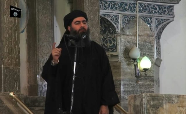 This file photo taken on July 5, 2014 shows an grab from a propaganda video released by Al-Furqan media group allegedly showing the leader of the Islamic State jihadist group, Abu Bakr al-Baghdadi, addressing Muslims at a mosque in Iraq's Mosul